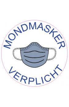 Sticker  rond 'mondmasker verplicht'  doorsnede 20 cm