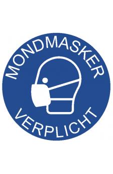 Sticker  'mondmasker verplicht ' doorsnede 20 cm