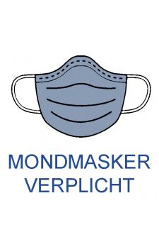 Sticker  vierkant 'mondmasker verplicht ' 20 cm x 20 cm