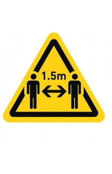 vloersticker driehoek 1,5m afstand 20 cm